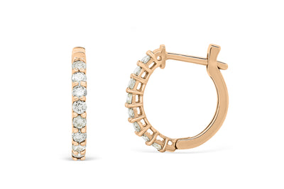 0.56 CT TW Round Diamond Hoop Earrings 14K Rose Gold DER008 - NorthandSouthJewelry
