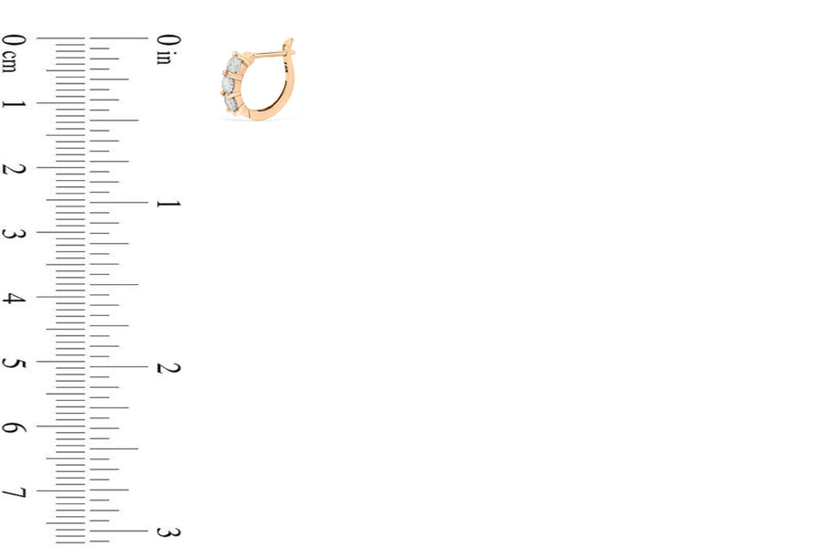0.83 CT TW Round Diamond Hoop Earrings 14K Rose Gold DER009 - NorthandSouthJewelry