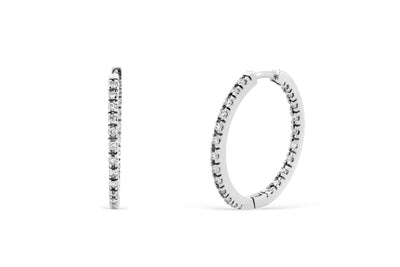 0.70 CT TW Round Diamond Hoop Earrings 14K White Gold DER015 - NorthandSouthJewelry