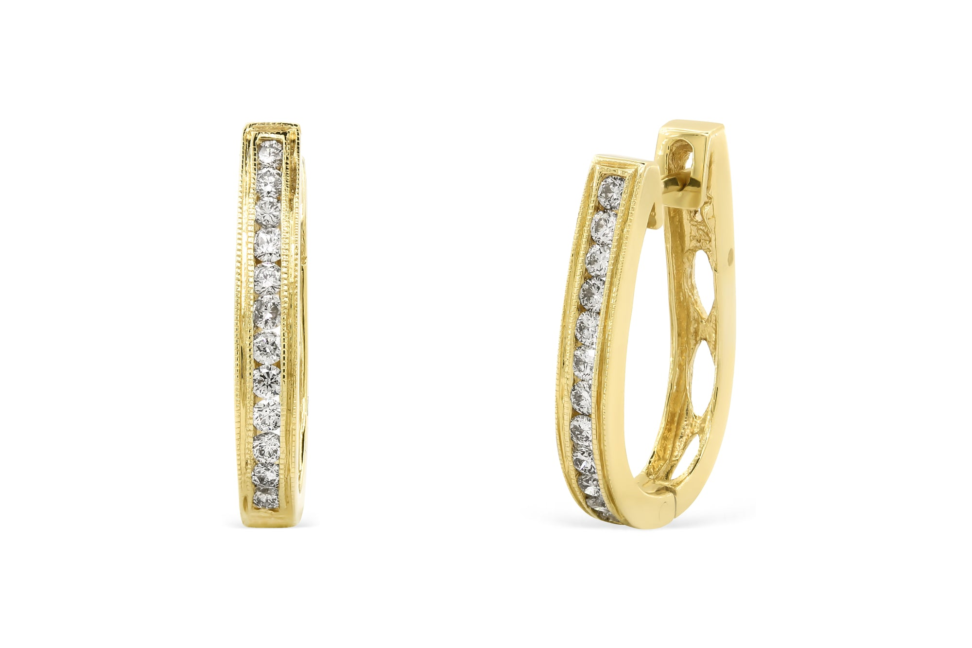 0.56 CT TW Round Diamond Hoop Earrings 14K Yellow Gold DER020 - NorthandSouthJewelry