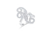 Quad Hanging Leaf Diamond Ring 1.09 ct tw Round-cut 14K White Gold DIR004 - NorthandSouthJewelry