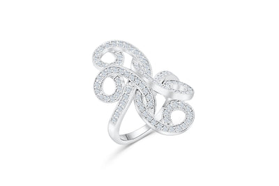 Quad Hanging Leaf Diamond Ring 1.09 ct tw Round-cut 14K White Gold DIR004