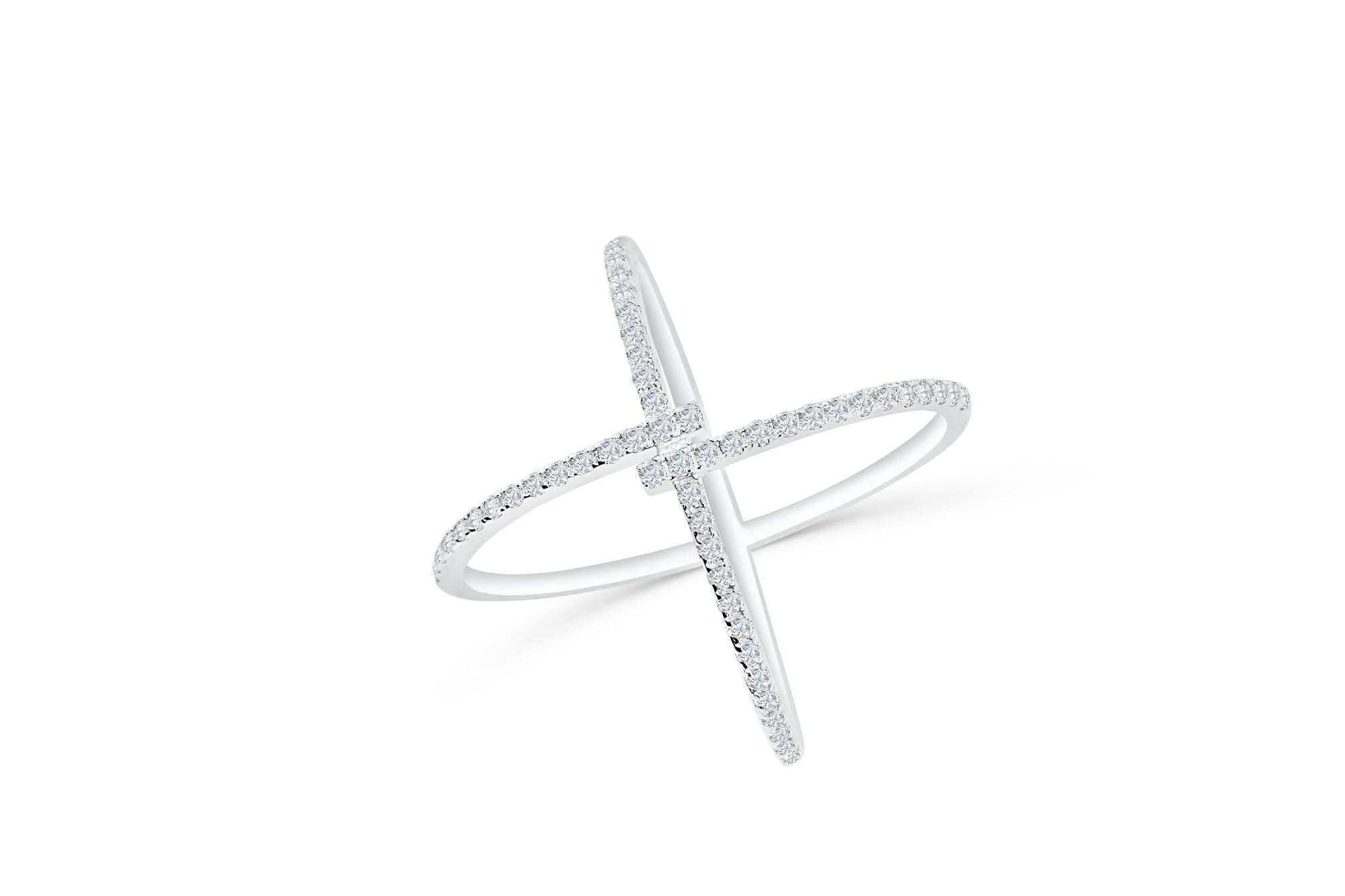 X Cross Diamond Ring 0.53 ct tw Round-cut 14K White Gold DIR006 - NorthandSouthJewelry