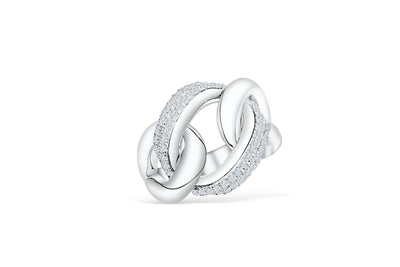 Triple Interlocked Circle Diamond Ring 0.60 ct tw Round-cut 14K White Gold DIR008