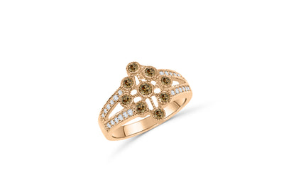 V Split Circle of Life Chocolate Diamond Ring 0.71 ct tw Round-cut 14K Rose Gold DIR011