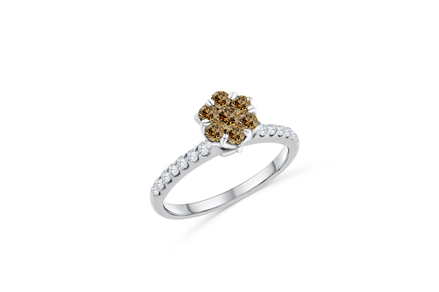 Chocolate Diamond Flower Cluster Engagement Ring 0.58 ct tw Round-cut 14K White Gold DIR012 - NorthandSouthJewelry