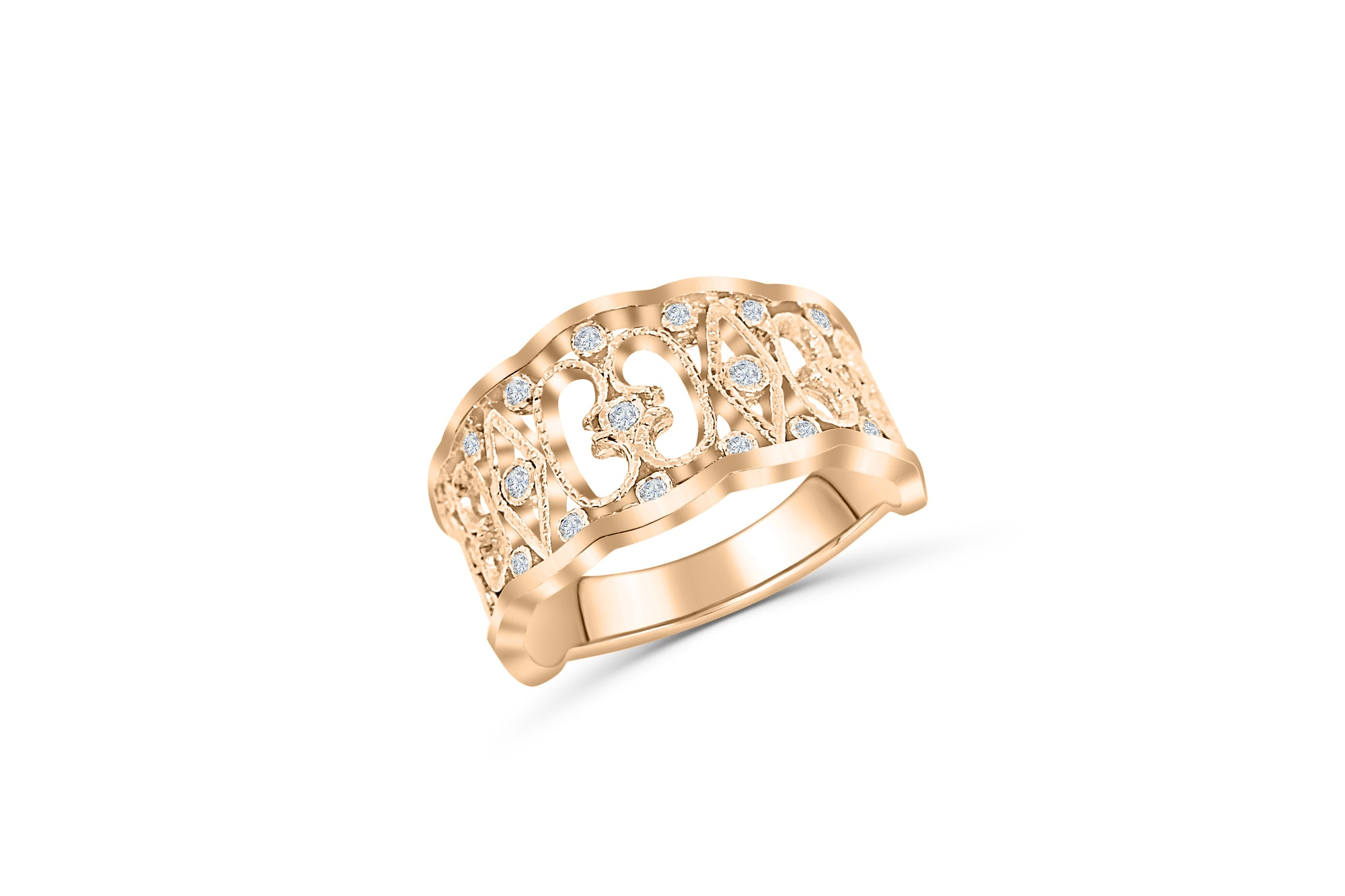 Gapped Diamond Ring 0.21 ct tw Round 14K Rose Gold DIR017 - NorthandSouthJewelry