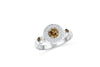 Bezel Chocolate Diamond Engagement Ring 0.78 ct tw Round-cut 14K White Gold DIR018 - NorthandSouthJewelry