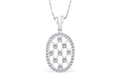 Racket Strings Diamond Pendant 0.70 CT TW 14K White Gold DPEN003