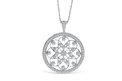 Floral Diamond Pendant 1 CT TW 14K White Gold DPEN006