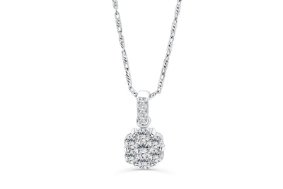 Cluster Diamond Pendant 0.46 CT TW 14K White Gold DPEN007