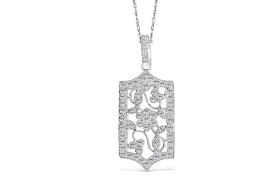 Hexagon Floral Diamond Pendant 1.01 CT TW 14K White Gold DPEN008 - NorthandSouthJewelry
