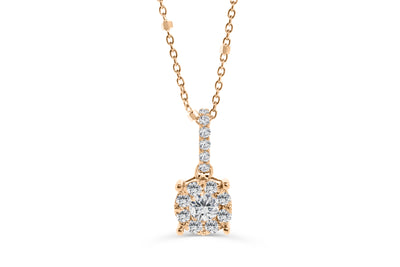 Cluster Diamond Pendant 0.40 CT TW 14K Rose Gold DPEN010 - NorthandSouthJewelry