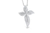 Diamond Floral Cross Pendant 0.32 CT TW 14K White Gold DPEN013 - NorthandSouthJewelry