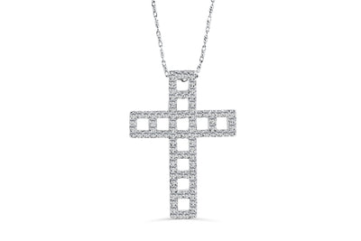 Diamond Cross Pendant 0.97 CT TW 14K White Gold DPEN015