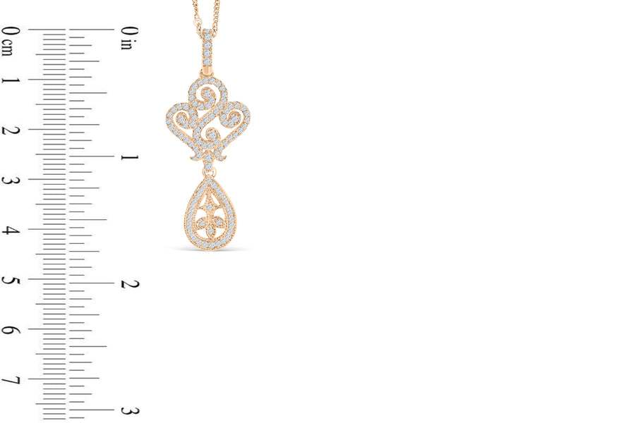 Diamond Pendant 0.92 CT TW 14K Rose Gold DPEN044
