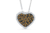 Pave Chocolate Diamond Heart Pendant 2.11 CT TW 14K White Gold DPEN045 - NorthandSouthJewelry