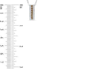 Vertical Bar Chocolate Diamond Pendant 0.64 CT TW 14K White Gold DPEN046 - NorthandSouthJewelry