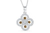 Clover Chocolate Diamond Pendant 0.70 CT TW 14K White Gold DPEN049 - NorthandSouthJewelry