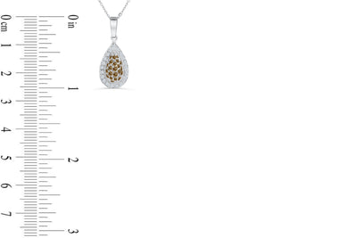 Halo Pave Chocolate Diamond Pendant 0.89 CT TW 14K White Gold DPEN051 - NorthandSouthJewelry