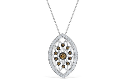 Chocolate Diamond Pendant 0.63 CT TW 14K White Gold DPEN052 - NorthandSouthJewelry
