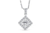 Halo Round Cut Pendant 0.66 CT TW 14K White Gold DPEN021