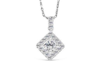 Halo Round Cut Diamond Pendant 0.66 CT TW 14K White Gold DPEN021 - NorthandSouthJewelry