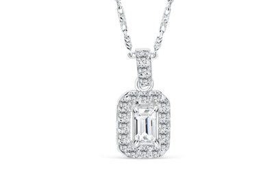 Halo Emerald Diamond Pendant 0.46 CT TW 14K White Gold DPEN022 - NorthandSouthJewelry
