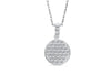 Round Pave Set Diamond Pendant 0.49 CT TW 14K White Gold DPEN023