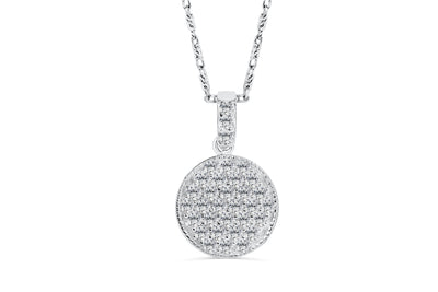 Round Pave Set Diamond Pendant 0.49 CT TW 14K White Gold DPEN023 - NorthandSouthJewelry
