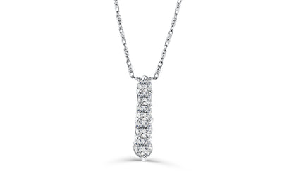 Vertical Bar Diamond Pendant 0.46 CT TW 14K White Gold DPEN031 - NorthandSouthJewelry