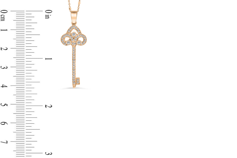 Diamond Key Pendant 0.45 CT TW 14K Rose Gold DPEN034