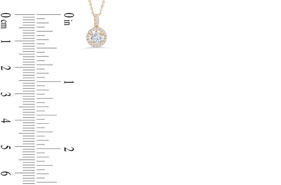 Halo Solitaire Diamond Pendant 0.64 CT TW 14K Rose Gold DPEN035
