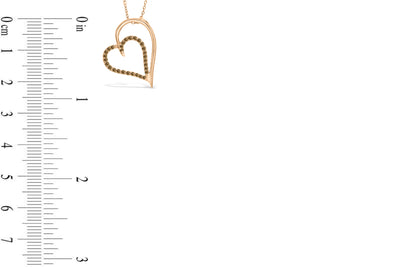 Chocolate Diamond Heart Pendant 0.26 CT TW 14K Rose Gold DPEN037 - NorthandSouthJewelry