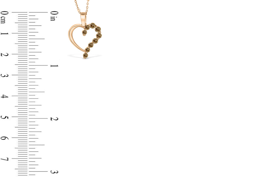 Chocolate Diamond Heart Pendant 0.31 CT TW 14K Rose Gold DPEN038