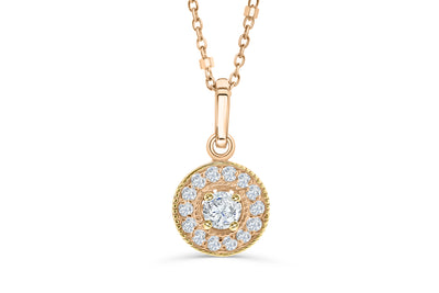 Halo Solitaire Diamond Pendant 0.31 CT TW 14K Rose Gold DPEN041 - NorthandSouthJewelry