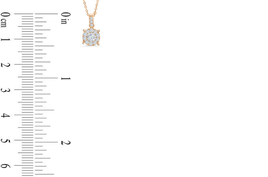 Halo Solitaire Diamond Pendant 0.50 CT TW 14K Rose Gold DPEN042 - NorthandSouthJewelry