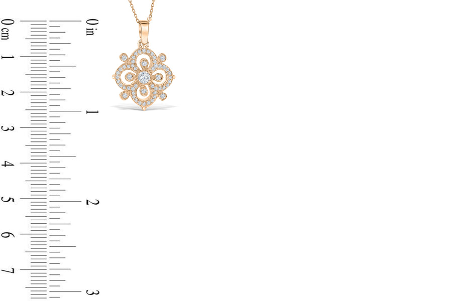 Diamond Pendant 0.68 CT TW 14K Rose Gold DPEN043