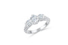 Three Stone Diamond Engagement Ring 1.55 ct tw 14K White Gold DENG063