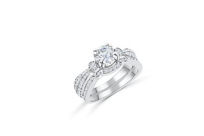 Diamond Engagement Ring Set 1.46 ct tw 14K White Gold DENG035 - NorthandSouthJewelry