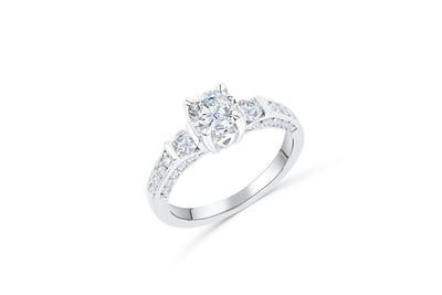 Diamond Engagement Ring 1.37 ct tw 14K White Gold DENG037 - NorthandSouthJewelry