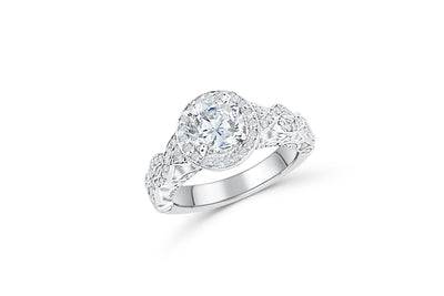 Diamond Engagement Ring 1.64 ct tw 14K White Gold DENG038 - NorthandSouthJewelry