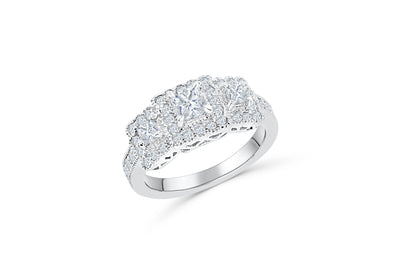 Three Stone Diamond Engagement Ring 1.07 ct tw 14K White Gold DENG041 - NorthandSouthJewelry
