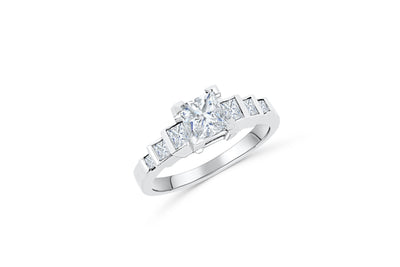 Bezel Princess Cut Diamond Engagement Ring 1.14 ct tw 950 Platinum DENG042 - NorthandSouthJewelry