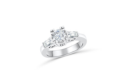 Three Stone Round/Baguette Diamond Engagement Ring 1.27 ct tw 950 Platinum DENG047 - NorthandSouthJewelry