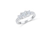Three Stone Princess Diamond Engagement Ring 0.96 ct tw 14K White Gold DENG049 - NorthandSouthJewelry