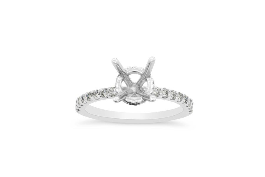 Monique with Under Halo Engagement Setting (Setting Only) 0.98 ct tw 14K White Gold ESET002