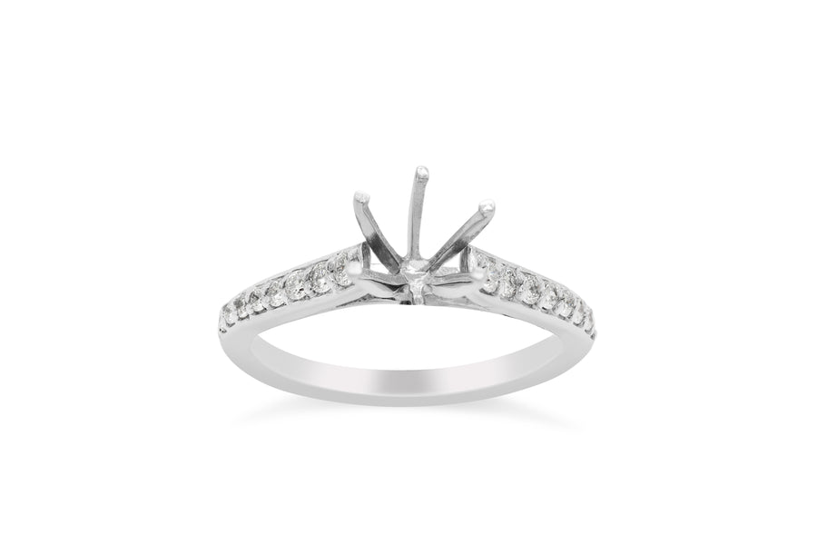 Serena Vintage Prong Set Engagement Setting (Setting Only) 0.22 ct tw 14K White Gold ESET003