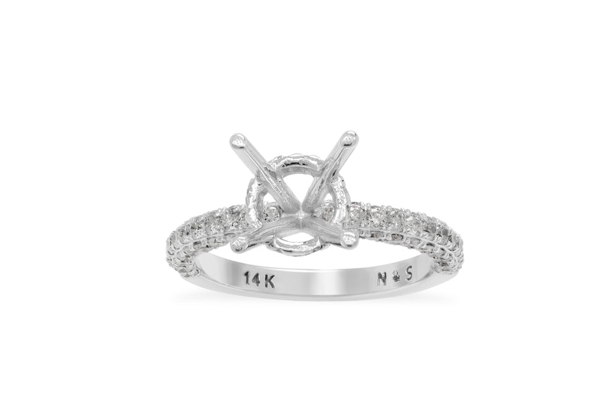 La Vie 3D Band with Under Halo Engagement Setting 0.96 ct tw 14K White Gold ESET005