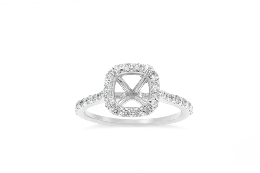 Traditional Cathedral Tapered Band with Halo Engagement Setting (Setting Only) 0.50 ct tw 14K White Gold ESET008